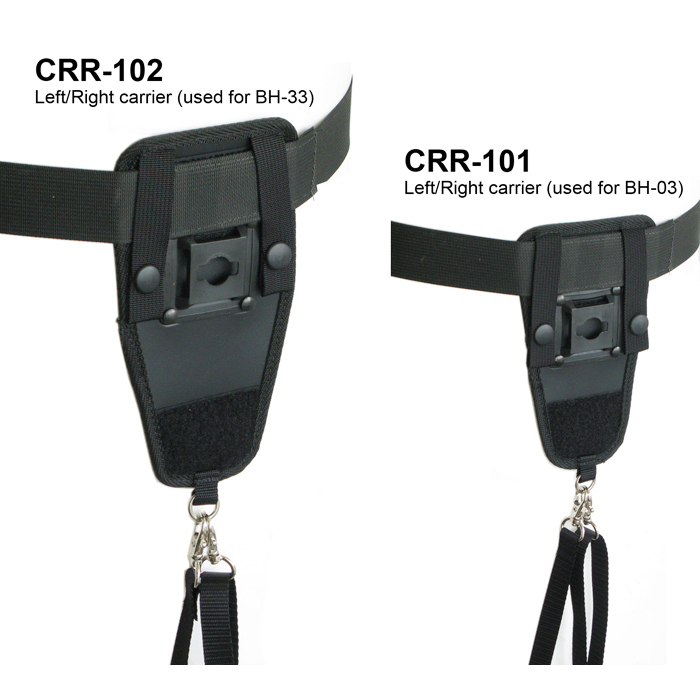 Left/right carrier with safety strap to be used with hip holster.