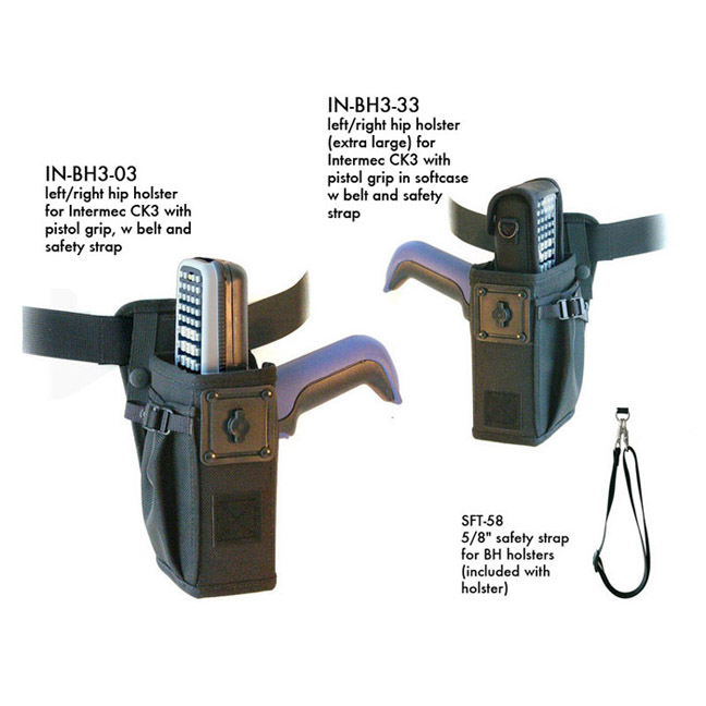 Left/right hip holster for Intermec CK3 with scan handle