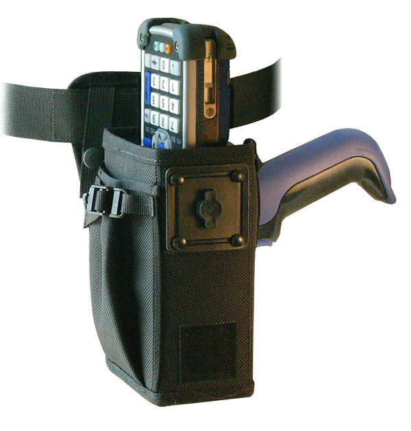 Left/right hip holster for Intermec CK60 with scan handle, belt, safety strap