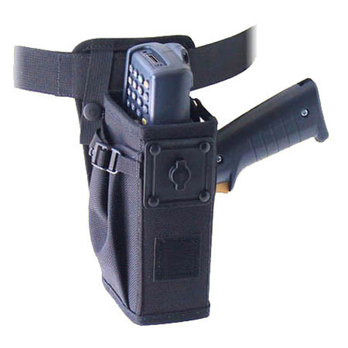 Left/right hip holster w belt w safety strap, Intermec 750 (with scan handle).