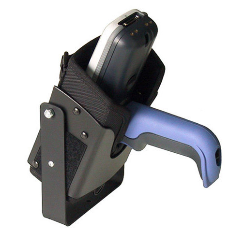 Vehicle top mounted bracketed holster for Intermec CK30 terminal