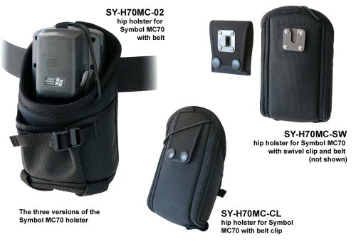 Holster for Zebra-Motorola MC70 with swivel connection on belt.