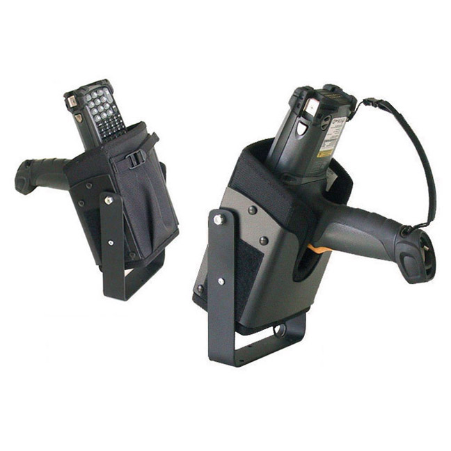 Vehicle top mounted bracketed holster w safety strap for Zebra-Motorola MC9090G.