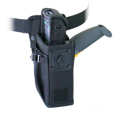 Left/right hip holster w belt w safety strap, extra large for Zebra-Motorola 8100